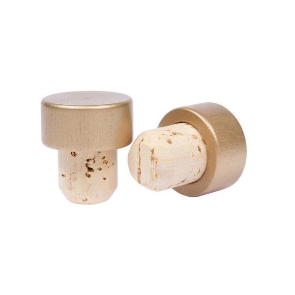 korek typu grzybek 30x19,5 mm złota, drewniana główka