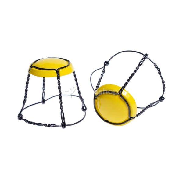 koszyczek do szampana - żółty z czarnym drutem
