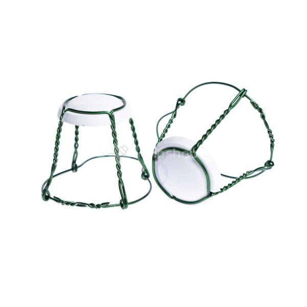 koszyczek do szampana - biały połysk z zielonym drutem