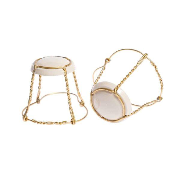koszyczek do szampana - cappuccino ze złotym drutem