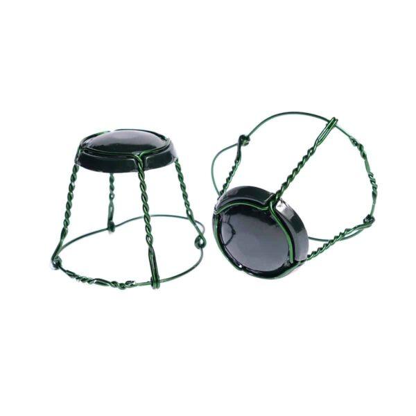 koszyczek do szampana - ciemnozielony z zielonym drutem
