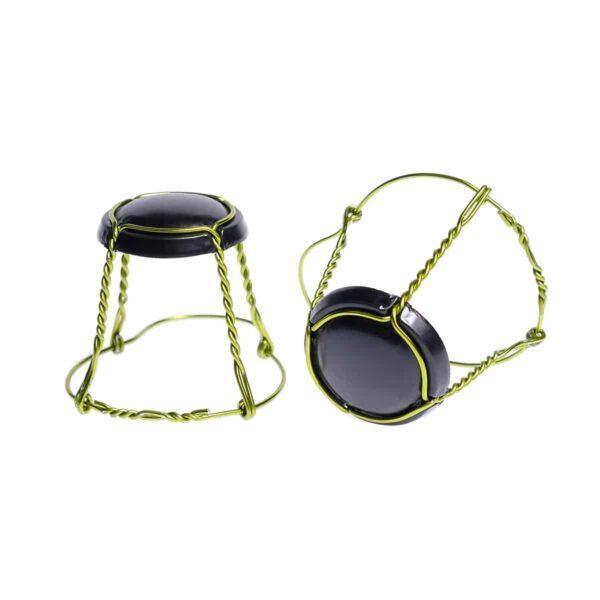 koszyczek do szampana - czarny mat z jasnozielonym drutem