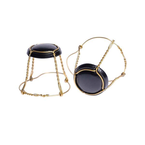 koszyczek do szampana - czarny mat ze złotym drutem