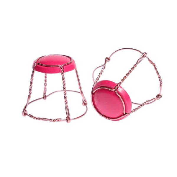 koszyczek do szampana - fuksja z różowym drutem