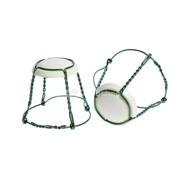 koszyczek do szampana - kremowy z zielonym drutem