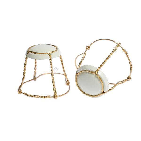 koszyczek do szampana - kremowy ze złotym drutem