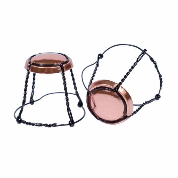 koszyczek do szampana - miedziany połysk z czarnym drutem