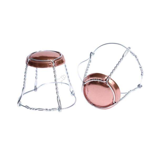 koszyczek do szampana - miedziany połysk ze srebrnym drutem