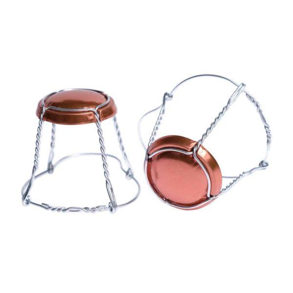 koszyczek do szampana - miedziany ze srebrnym drutem