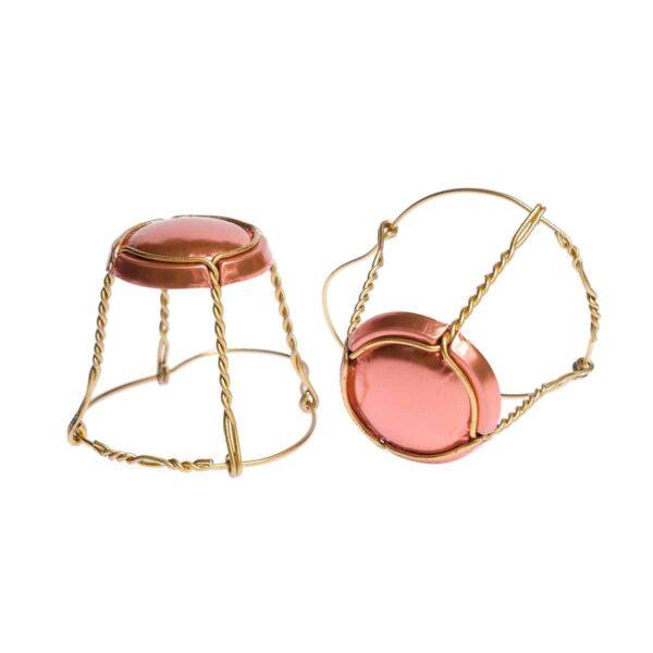 koszyczek do szampana - miedziany ze złotym drutem