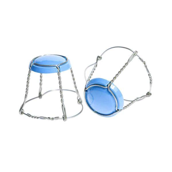 koszyczek do szampana - niebieski z drutem srebrnym z nutą mięty