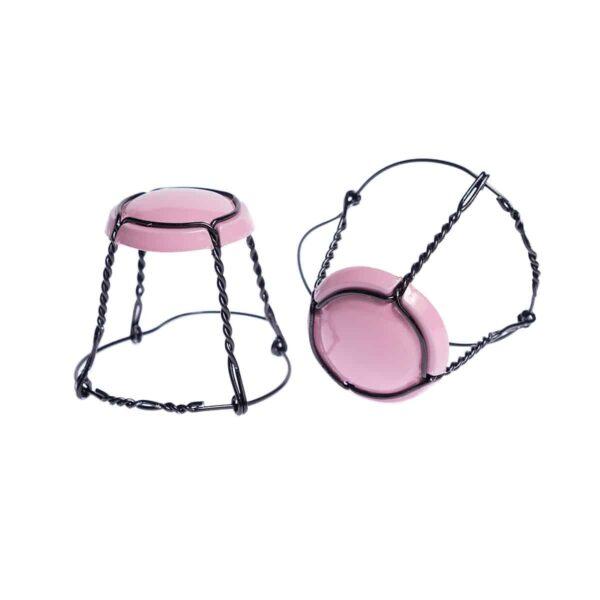 koszyczek do szampana - różowy połysk z czarnym drutem