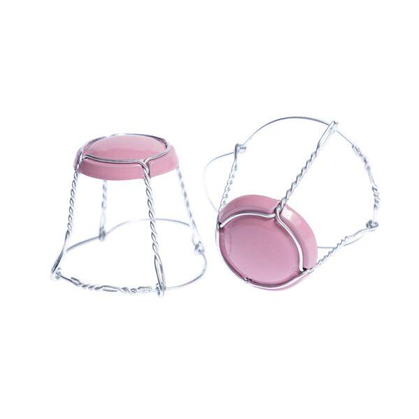 koszyczek do szampana - różowy połysk ze srebrnym drutem