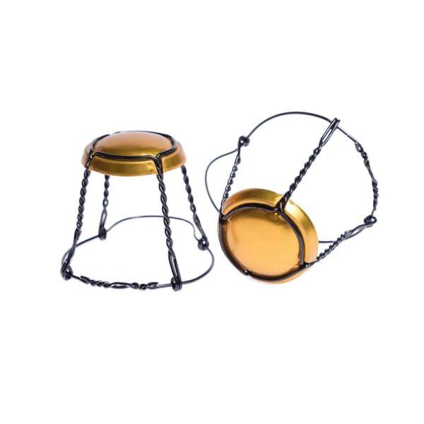 koszyczek do szampana - złoty mat z czarnym drutem