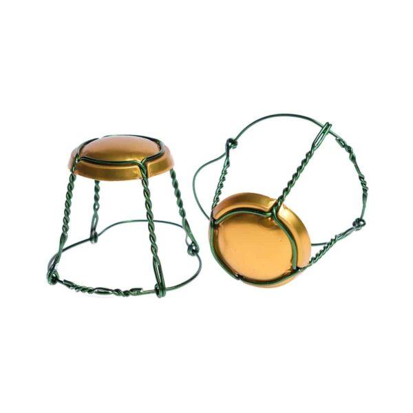 koszyczek do szampana - złoty mat z zielonym drutem