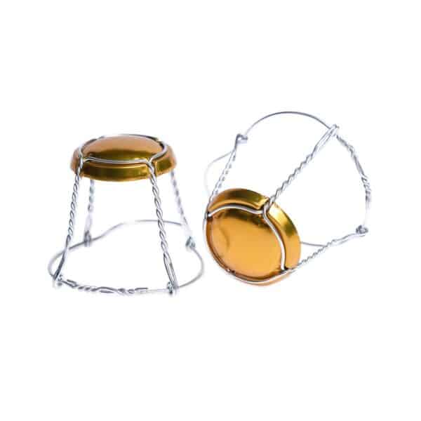 koszyczek do szampana - złoty połysk ze srebrnym drutem