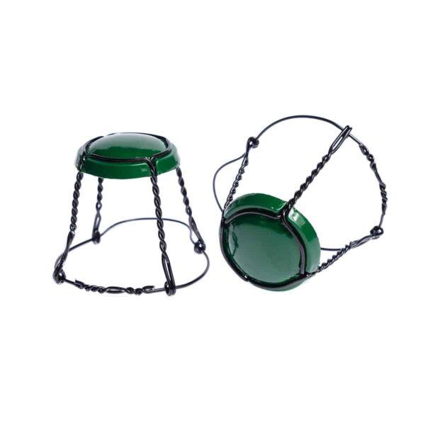 koszyczek do szampana - zielony z czarnym drutem