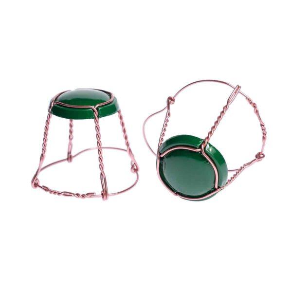 koszyczek do szampana - zielony z różowym drutem