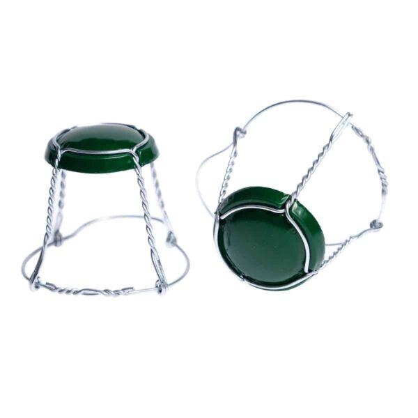 koszyczek do szampana - zielony ze srebrnym drutem